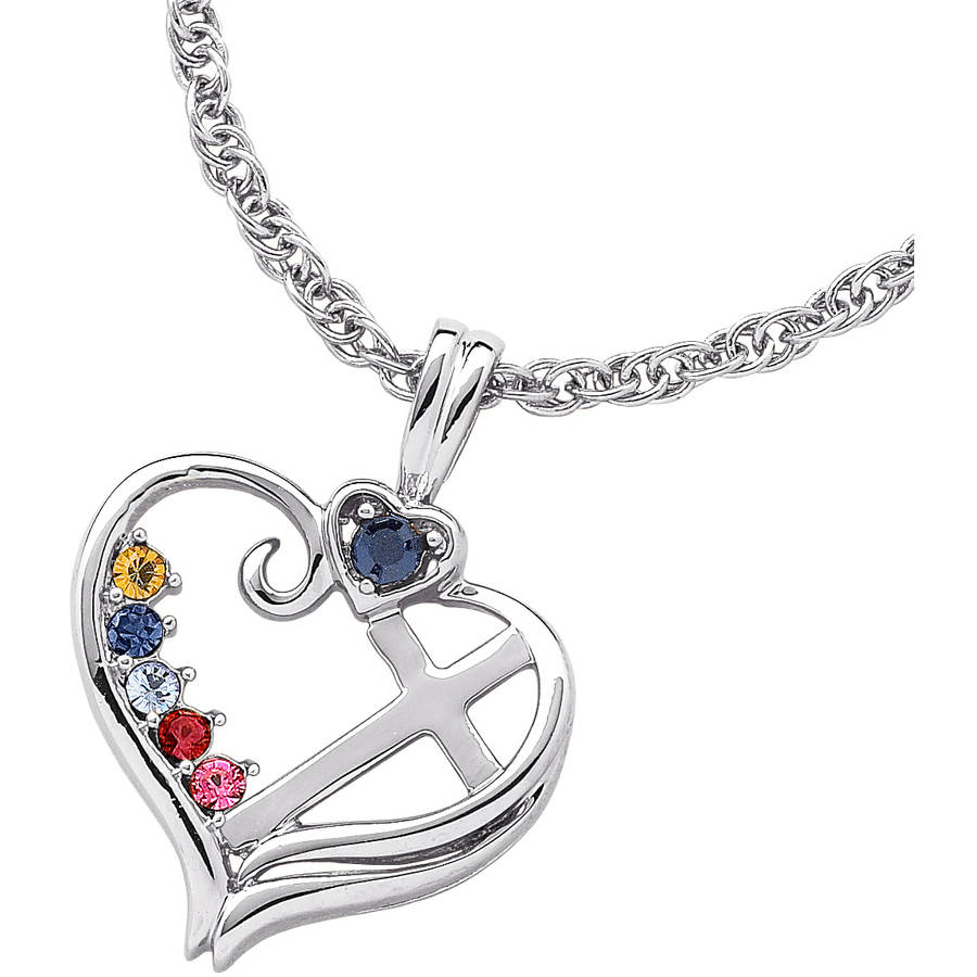 Personalized Mother's Sterling Silver Birthstone Heart Cross Necklace, 20""