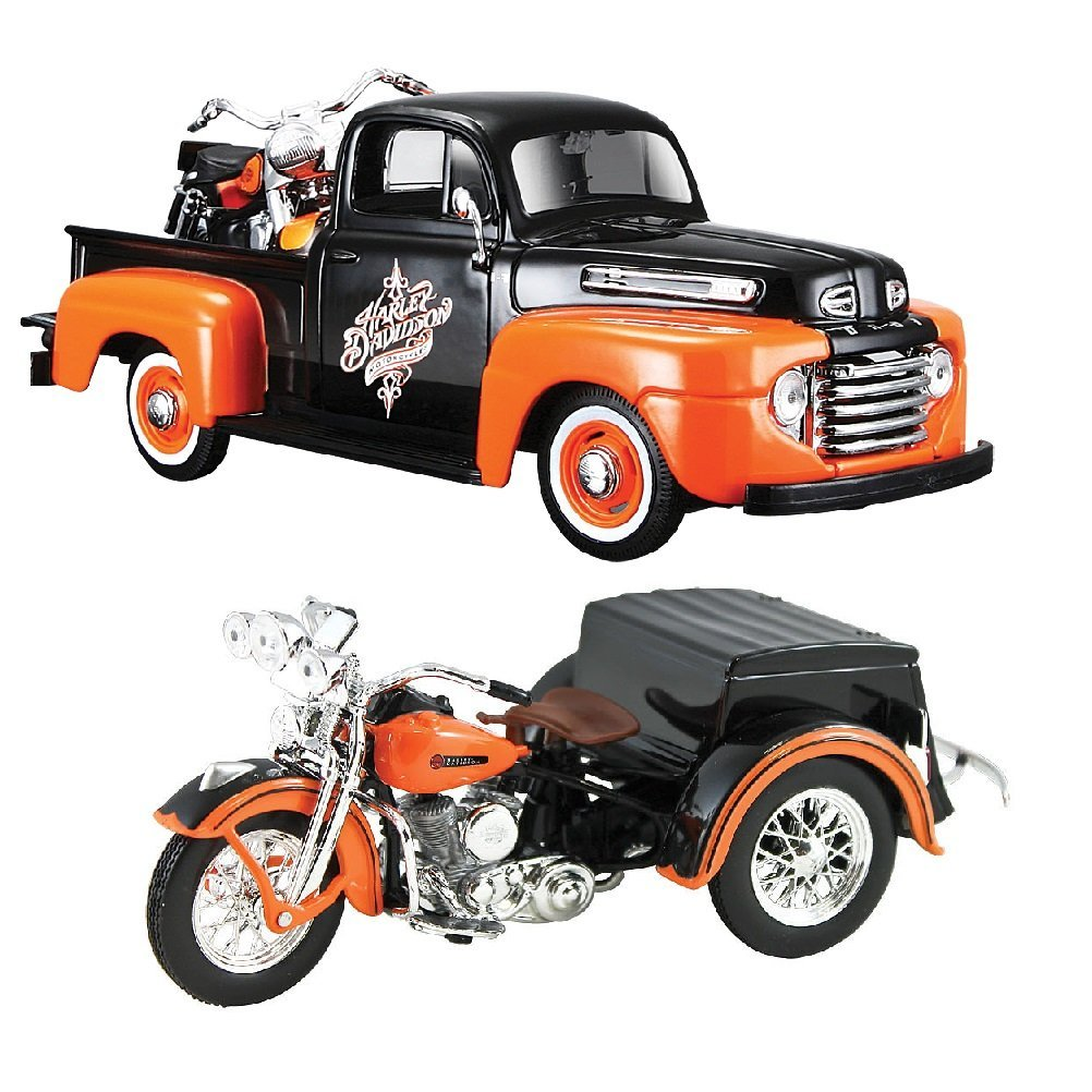 (Set) 1948 Ford F-1 w  Harley Davidson Die Casts & 1947 Maisto H-D Servi-Car, From US,Brand SONGMICS by