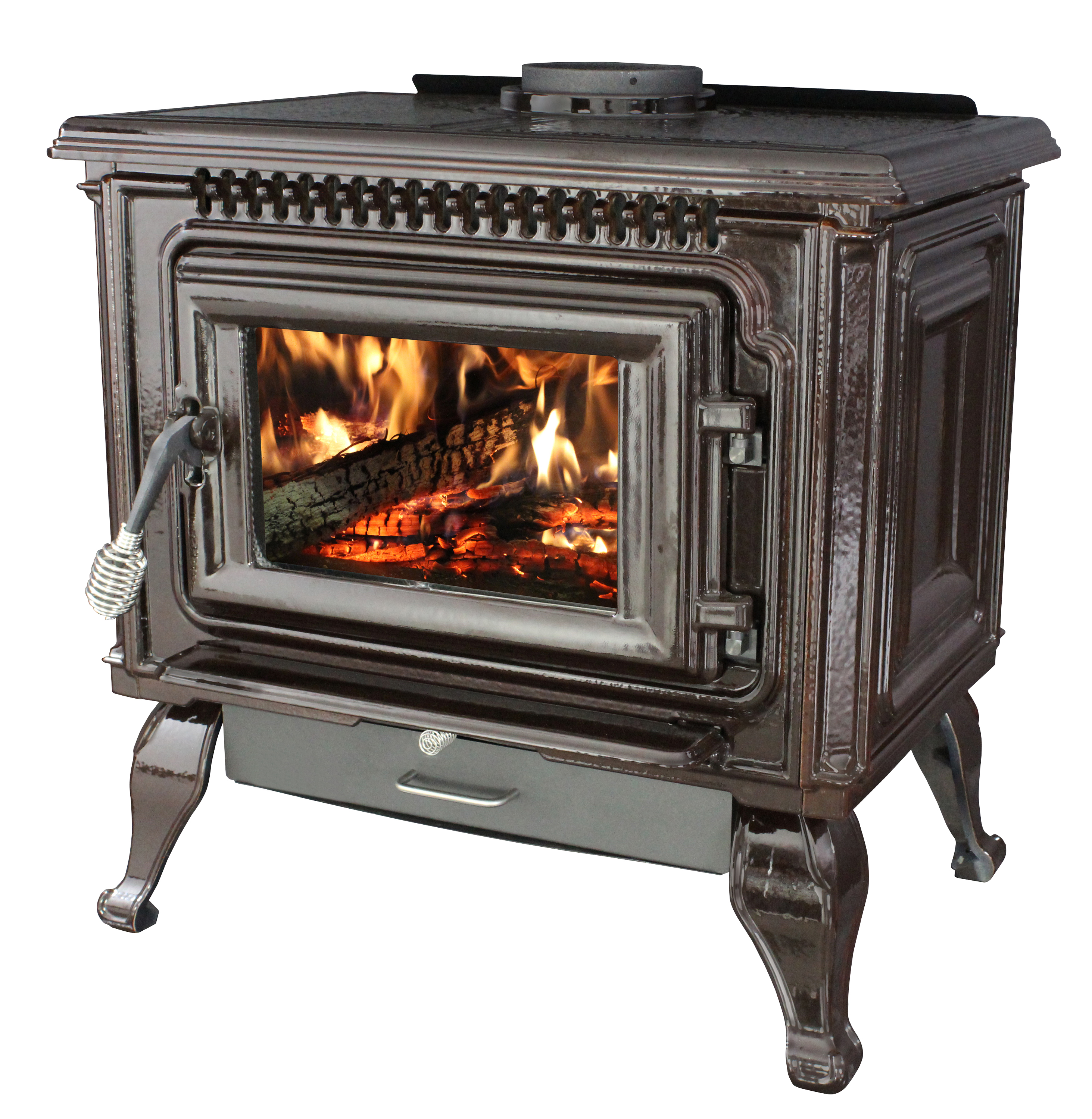 Ashley 2,000 Sq. Ft. EPA Certified Mahogany Enameled Porcelain Cast Iron Wood stove with Blower