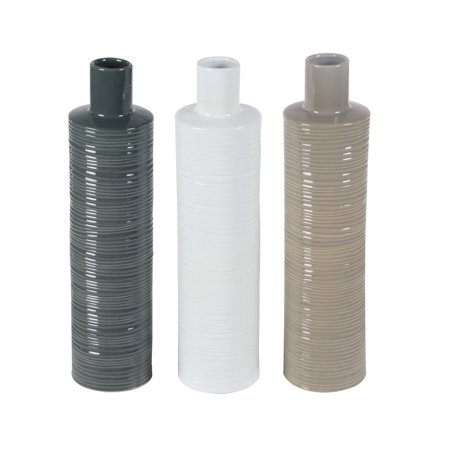 Ribbed Ceramic - Decmode Contemporary 21 X 5 Inch Ribbed Ceramic Bottle Vases - Set of 3