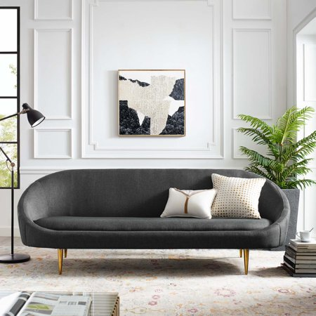 Sublime Vertical Curve Back Fabric Sofa in Gray ()