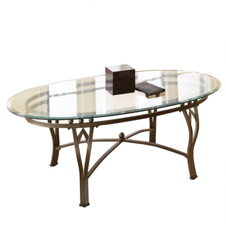 Steve Silver Madrid Oval Glass Top Coffee Table in Weathered Pewter