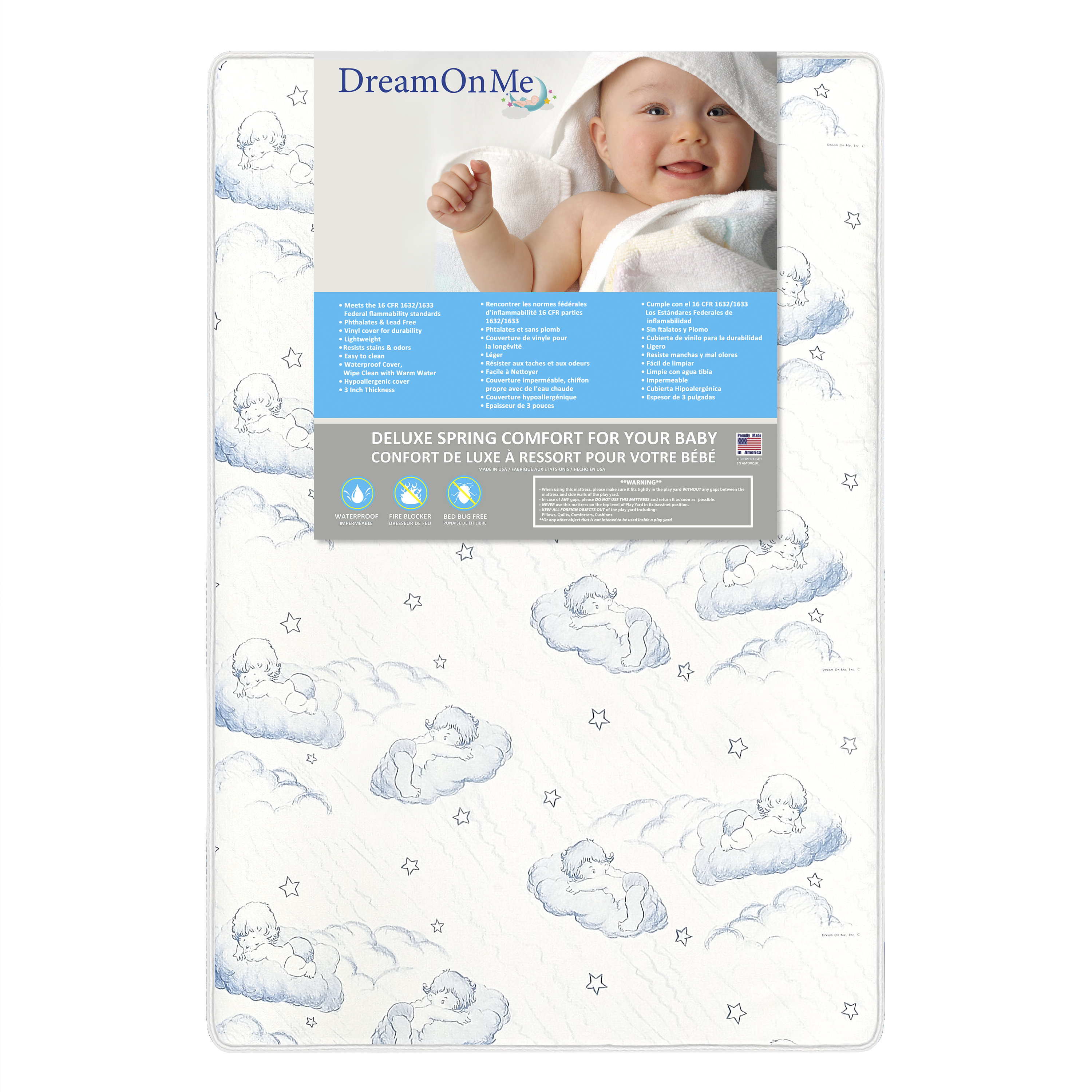 "Dream On Me, 3"" Spring Coil Mini/Portable Crib Mattress"