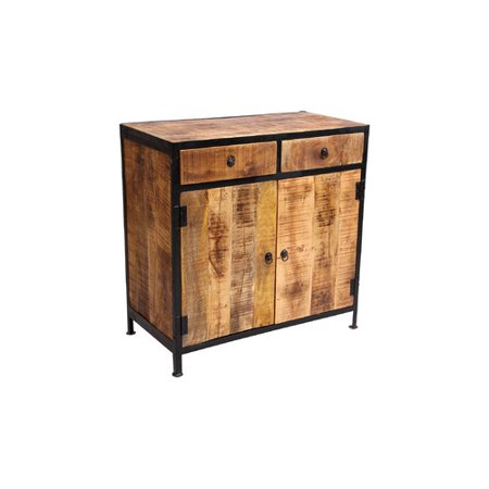 Reclaimed Heart Pine - Millwood Pines Dante Industrial Reclaimed Wood and Iron 2 Drawer Sideboard Accent Cabinet