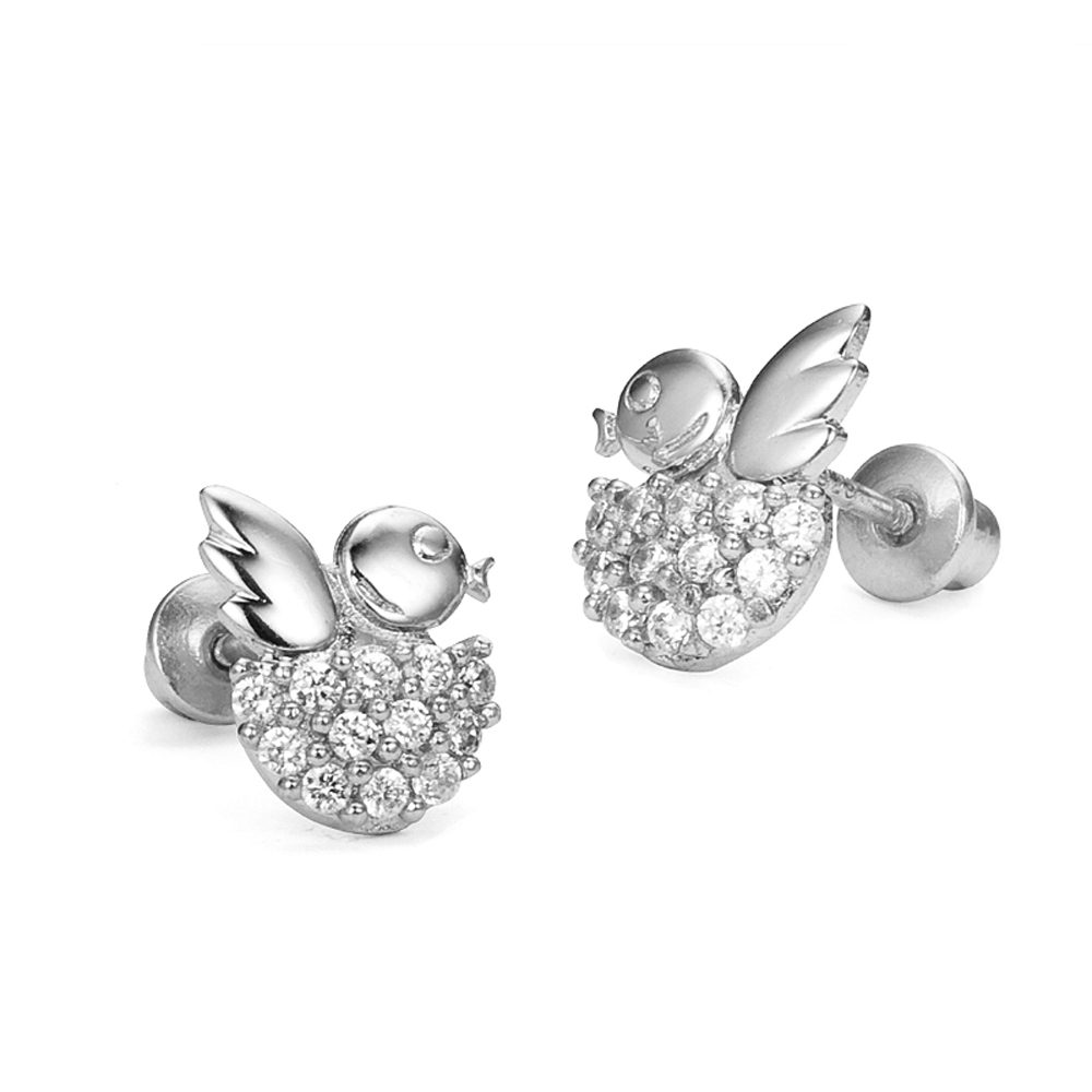 Sterling Silver Rhodium Plated Bird Nest Cubic Zirconia Screwback Baby Girls Earrings