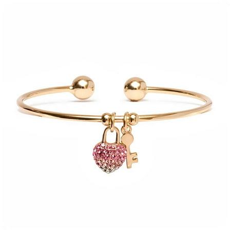 18kt Gold over Brass & Swarovski Elements White & Pink Heart Lock and Key Charm Cuff ()