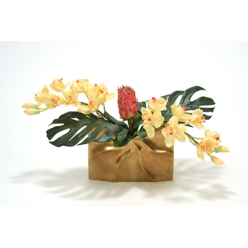 Distinctive Designs Tropical Mix of Champagne Burgundy Orchids and Protea in Ritz Vase