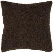 "18"" Dark Chocolate Brown Cozy Shag Decorative Throw Pillow"