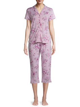 Gloria Vanderbilt Women's and Women's Plus Lush Knit Notch Collar 2-Piece Pajama Set
