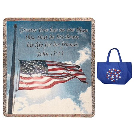 2 Piece Tote - A Salute To Our Soldiers Inspirational Tapestry Throw Blanket & Tote 2 Piece Gift Set