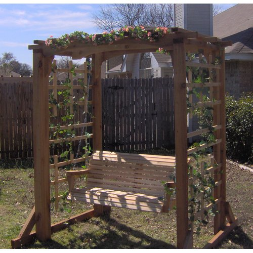 August Grove Starke Deluxe Cedar Arbor Porch Swing with Stand