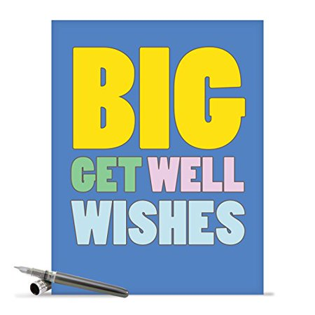 J2721GWG Jumbo Humorous Get Well Greeting Card: 'Big Wishes' with Envelope (Big Size: 8.5