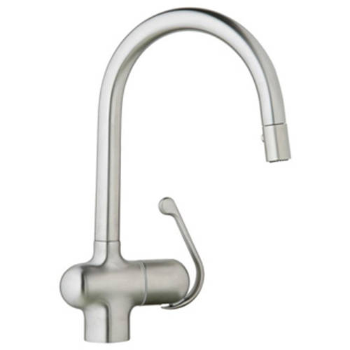 Grohe 32245SD0 Ladylux Pro Single Lever Kitchen Faucet with Pull Down Spray, Brushed Stainless Steel