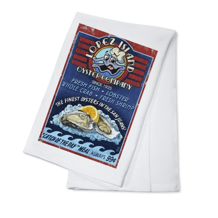 Oyster Bar Vintage Sign - Lopez Island, Washington - LP Original Poster (100% Cotton Kitchen Towel)