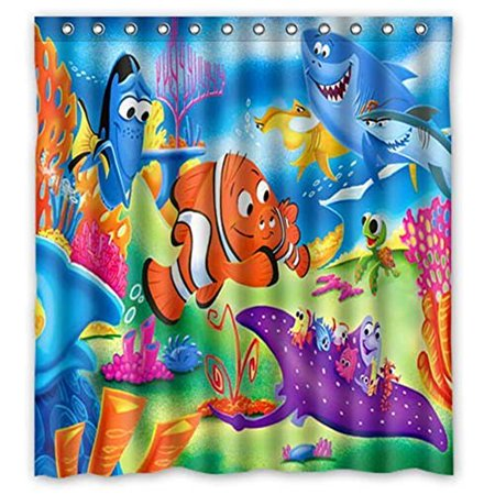 Ganma Finding Nemo Shower Curtain Polyester Fabric Bathroom Shower Curtain 66x72 inches (Finding Nemo Baby Shower)