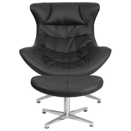 Flash Furniture Leather Cocoon Chair and Ottoman in Black - image 1 de 4