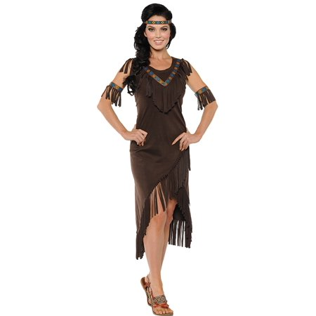 Chocolate Brown and Blue Native American Women Adult Halloween Costume - Small
