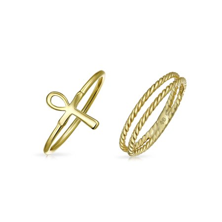 2 Set Stackable Minimalist 14K Gold Plated 925 Sterling Silver Egyptian Ankh Cross Ring 1MM Band Inset Cable (Egyptian Ankh Cross Ring)
