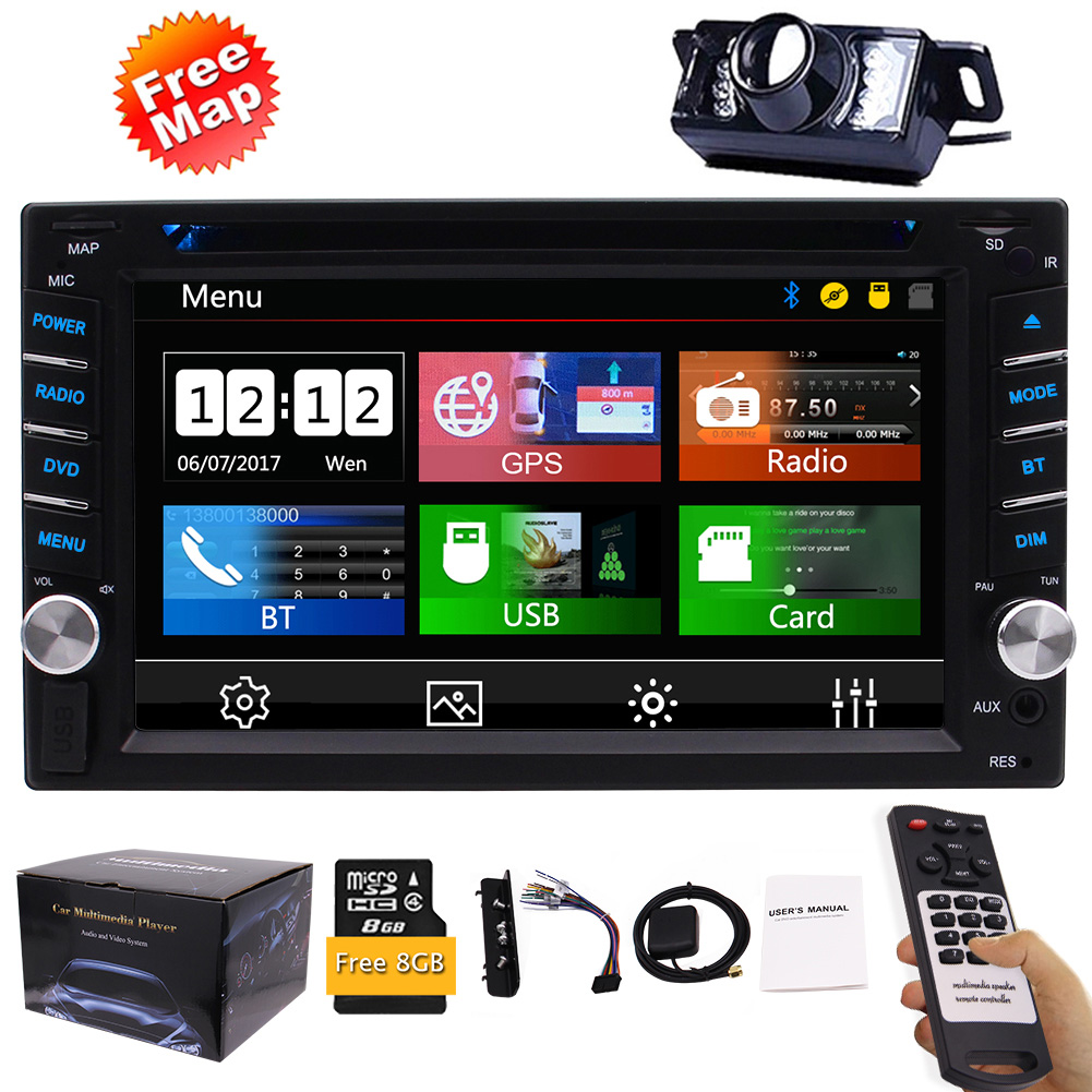 FREE Backup Camera Included + NEW Design Double Din Car Stereo DVD Player GPS Navigation Radio Bluetooth 2 Din Capacitive Touch Screen support USD SD 1080P SWC Car Logo Multi Language Remote Cont