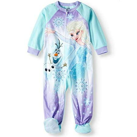 9b86a6c2de86 Frozen - Toddler Girls Elsa Olaf Anna Footed Blanket Sleeper Pajamas ...