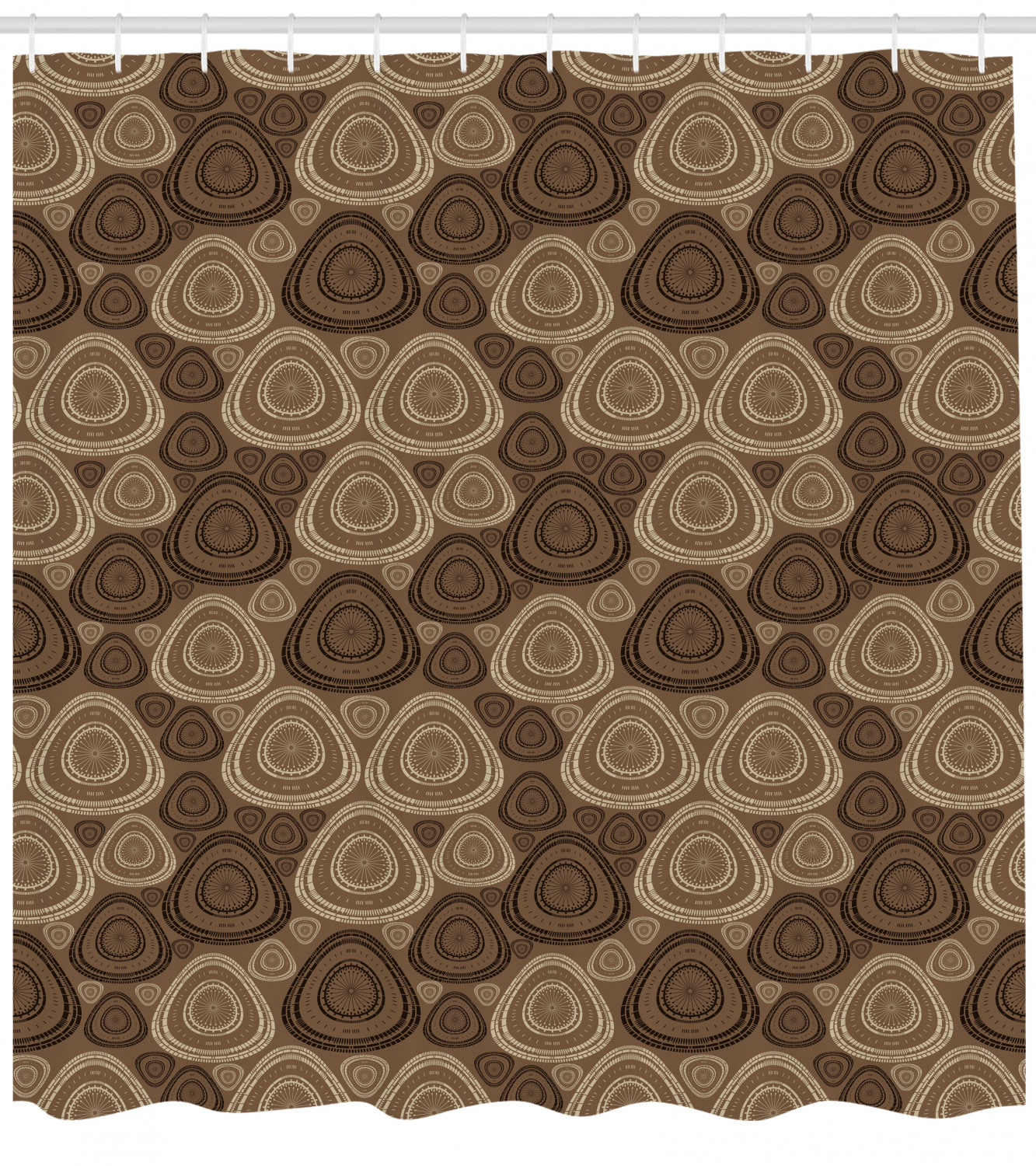 Brown And Ivory Shower Curtain Circles And Oval Triangle Shapes On Brown Toned Background Fabric Bathroom Set With Hooks 69w X 70l Inches Brown