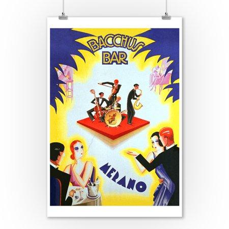 Bacchus Bar Vintage Poster (artist: Romoli) Italy (9x12 Art Print, Wall Decor Travel Poster)