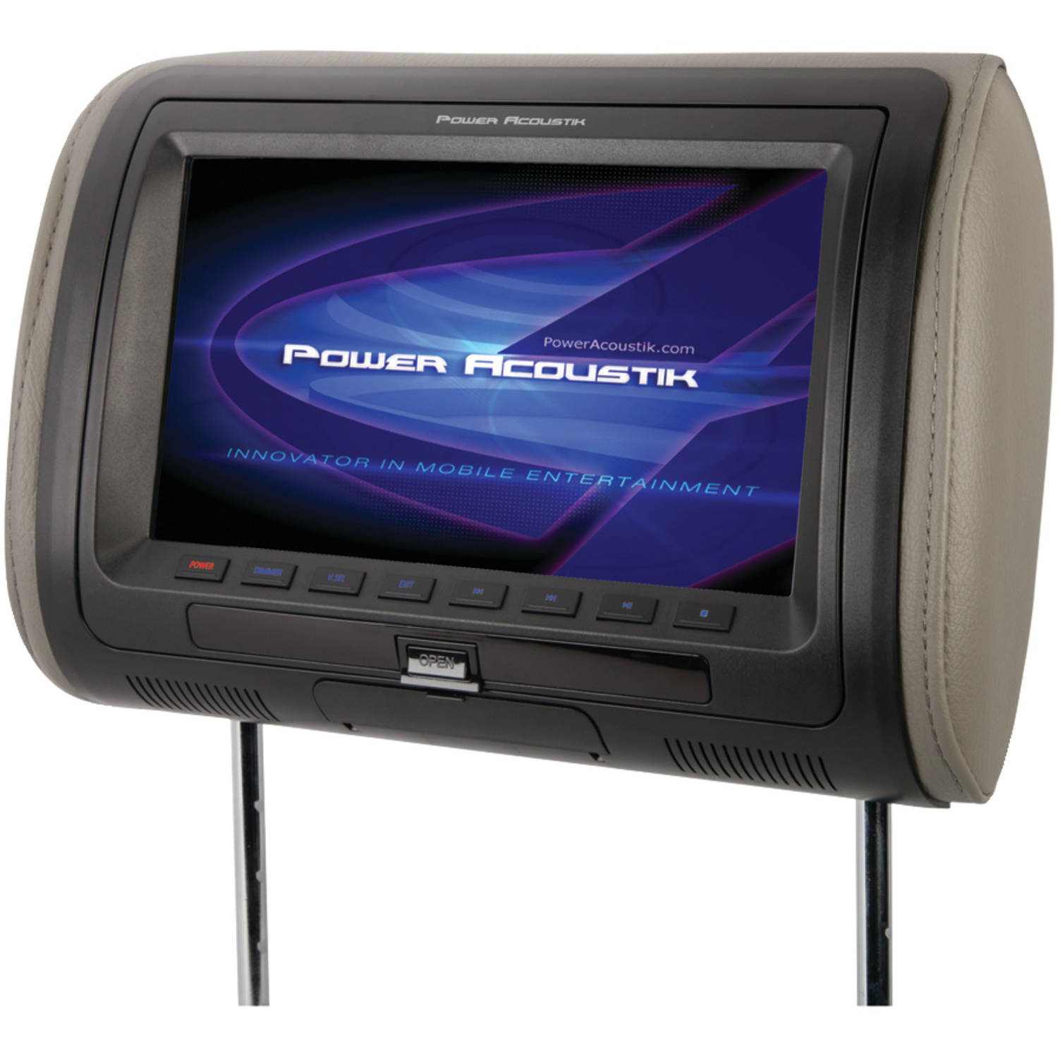 """Power Acoustik HDVD71HD 7"""" Universal Headrest Monitor with MHL MobileLink and Interchangeable Skins with DVD Player"""