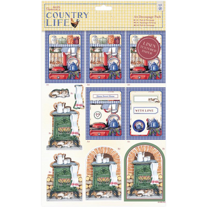 Papermania Country Life A4 Decoupage Pack-country Kitchen, Linen Finish