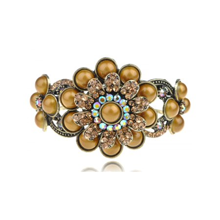 Metal Topaz Gold Crystal Rhinestone Bohemian Orb Flower Bangle Bracelet Cuff