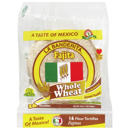 La Banderita Fajita 100% Whole Wheat Flour Tortillas - 16 CT