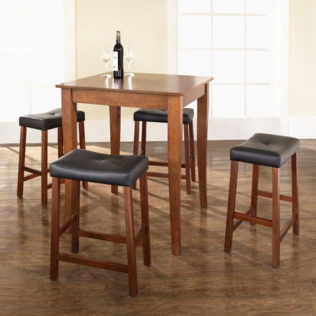 Outstanding Crosley Furniture 5 Piece Pub Dining Set With Cabriole Leg And Upholstered Saddle Stools Gamerscity Chair Design For Home Gamerscityorg