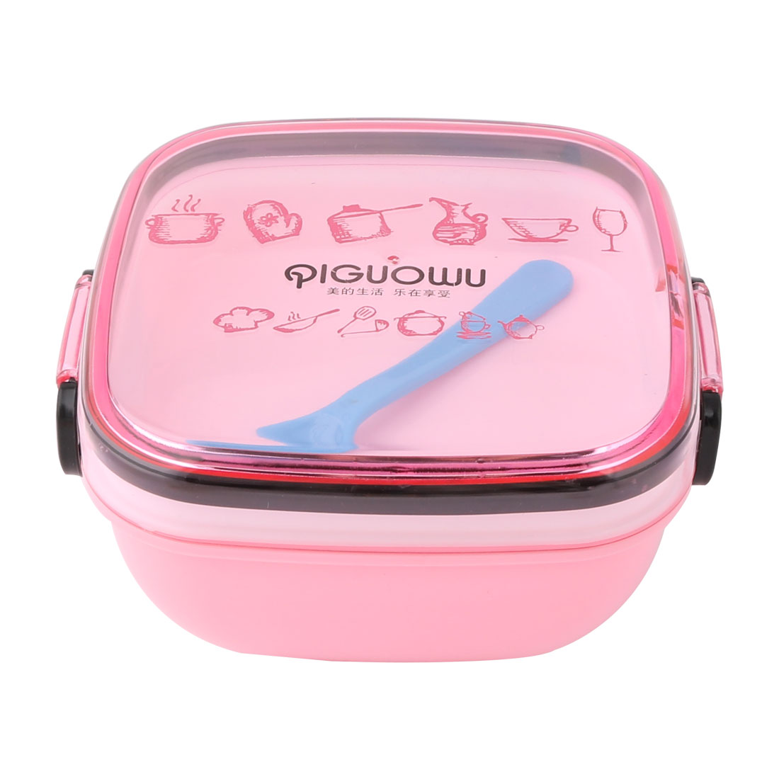 Kitchen Outdoor Travel Plastic Square Shaped Food Container Lunch Box Case Pink