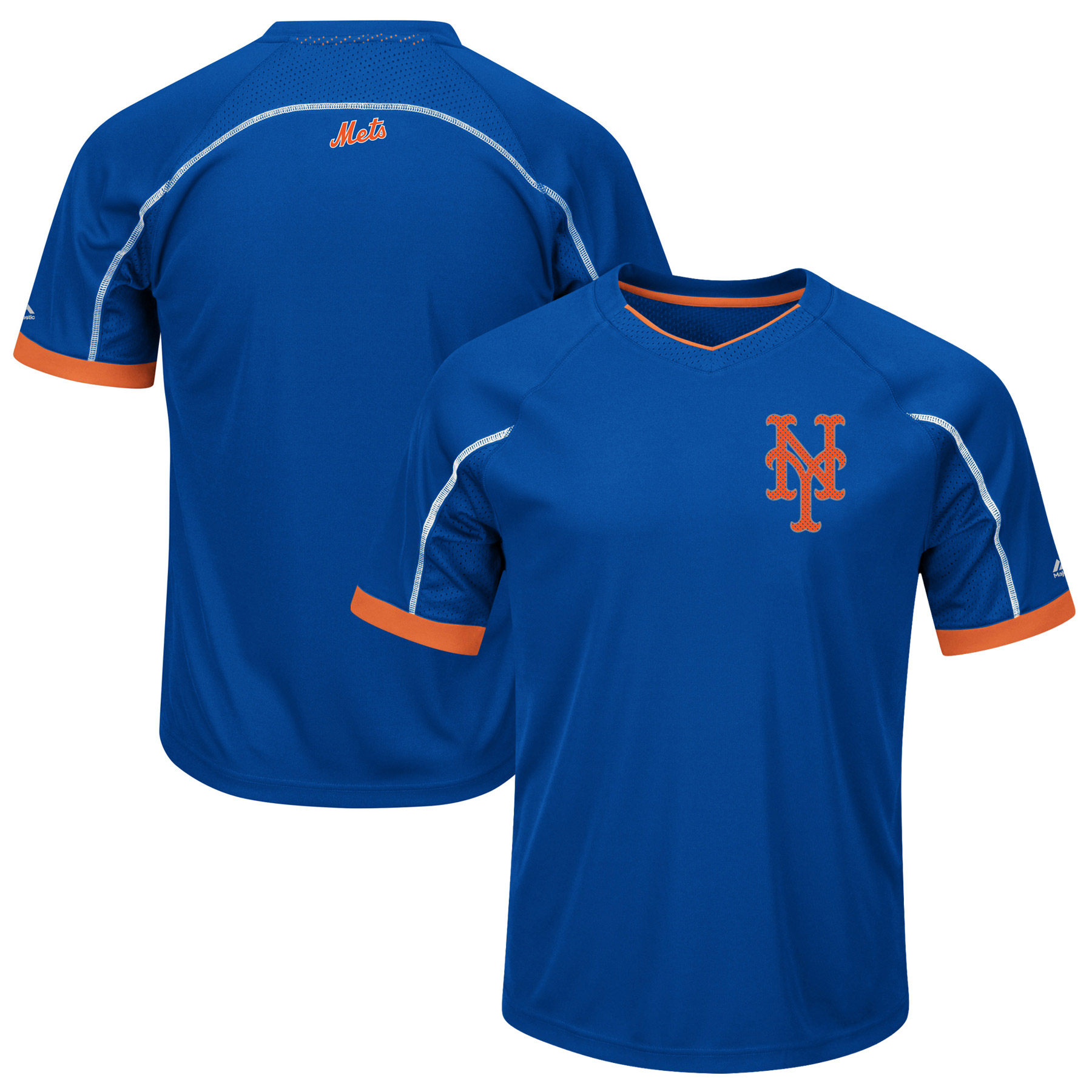 New York Mets Majestic Big & Tall Emergence V-Neck T-Shirt - Royal/Orange