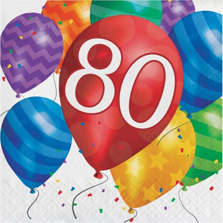 Creative Converting Balloon Blast 80th Birthday Napkins, 16 ct - 80th Birthday Celebrations