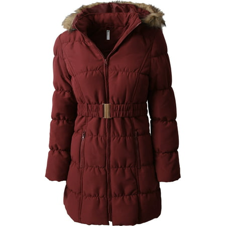 Womens Belted Quilted Puffer Coat Detachable Fur Hoodie Lightweight Faux Fur Winter -