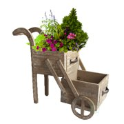 Double Tier Wood Planter Cart