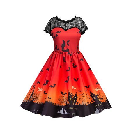 Lace Vintage Dresses for Women Halloween Party Pumpkin Ghost Printed Retro Swing Dress V Back Short Sleeve Pleated - Haloween Dress