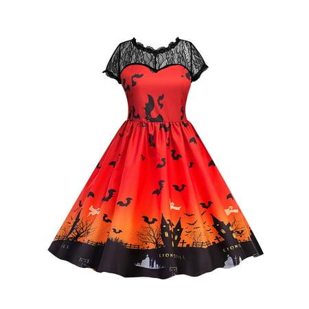 Lace Vintage Dresses for Women Halloween Party Pumpkin Ghost Printed Retro Swing Dress V Back Short Sleeve Pleated Dress](Halloween Fancy Dress Ideas Ladies)