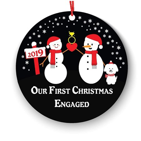 Wendana Engagement Christmas Ornament with Dog Pets, Our First Christmas Engaged Ornament 2019, Engagement Keepsake Gifts 2019, First Christmas Engaged Ornament, Newly Engaged Couple 1st Xmas ()