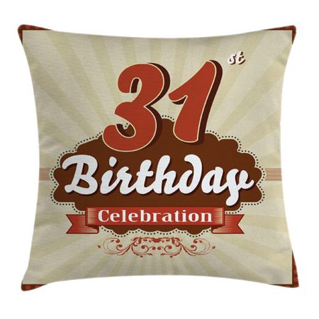 Ambesonne Retro Thirty One Celebration Square Pillow Cover (Thirty One Order Tracking)