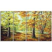 Design Art Autumn Landscape 4 Piece Painting Print on Wrapped Canvas Set