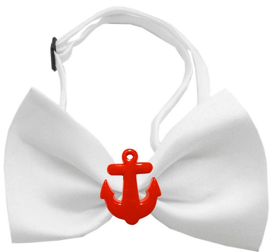 Image of Mirage 47-16 WT Red Anchors Chipper White Dog Bow Tie