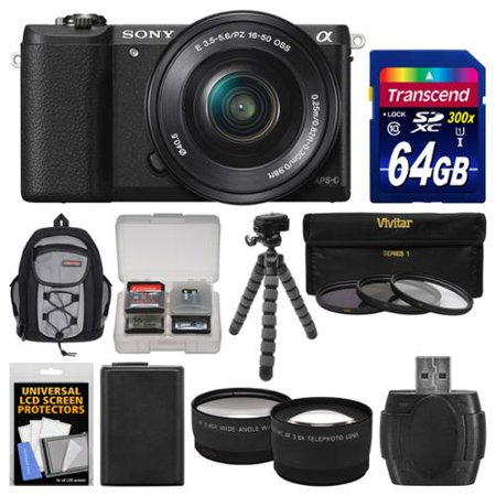 Sony Alpha A5100 Wi-Fi Digital Camera & 16-50mm Lens (Black) with 64GB Card + Backpack + Battery + Tripod + Filters + Tele/Wide Lens Kit