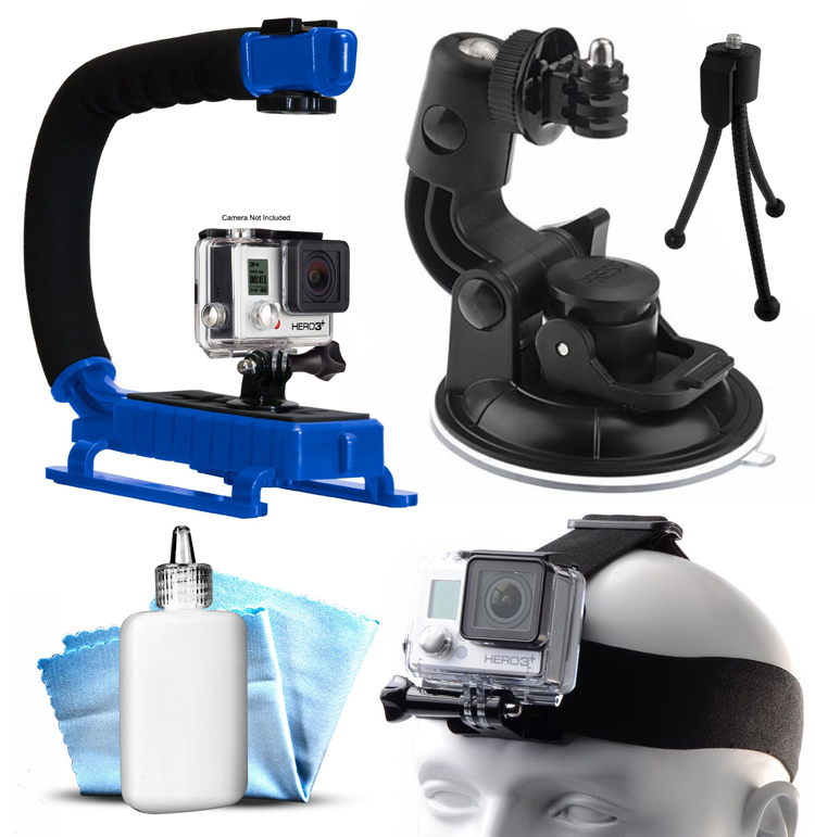Opteka xGrip Stabilizing Action Grip Handle Handheld Holder (Blue) , Car Mount+ Head Band Helmet Harness Strap Mount, Mini Tripod, Dust Removal Cleaning Care Kit for GoPro Hero4 Hero3+ Hero3, Camera