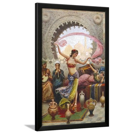 Middle Eastern Belly Dancer Dancing with a Veil to Musical Accompaniment Framed Print Wall -