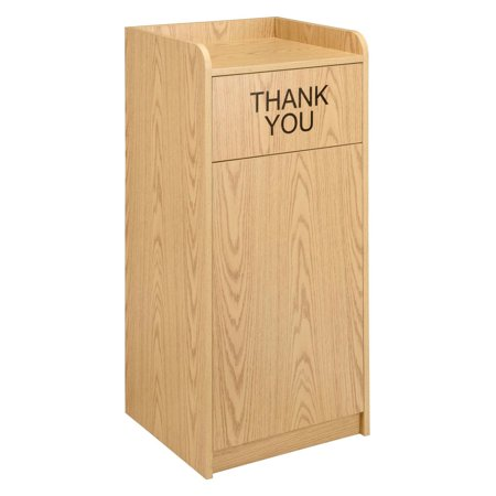 Wooden Waste Receptacle With Tray Top, 36 Gallon, Oak ()