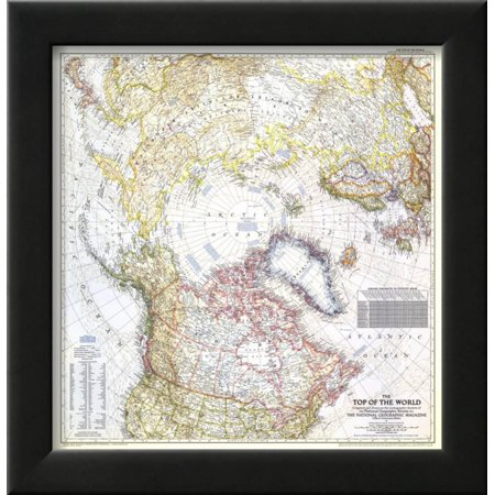 1949 Top Of The World Map Framed Print Wall Art By National