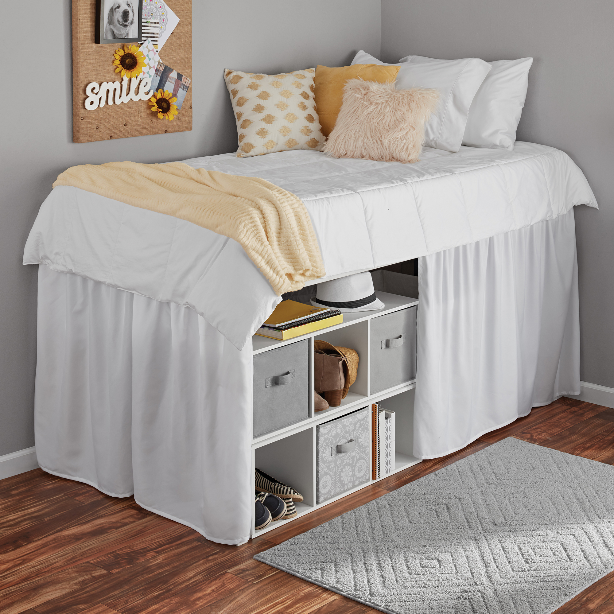 Mainstays Extra Long Extended Dorm Bed Skirt