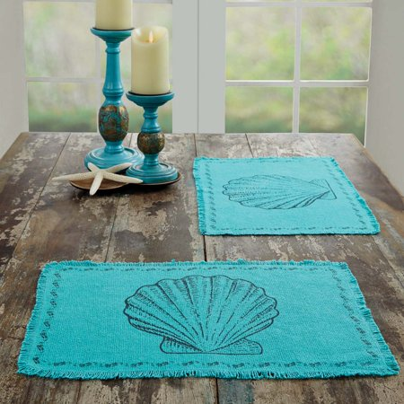 Deep Rectangle Tabletops - Ashton & Willow Aqua Blue Coastal Tabletop Kitchen Sandy Burlap Cotton Stenciled Cotton Burlap Nautical Rectangle Placemat Set of 6