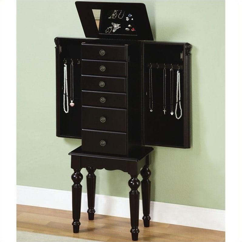 Powell Furniture Ebony Jewelry Armoire in Distressed Ebony ...